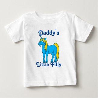 Unicornio azul con la melena del oro camiseta para bebé
