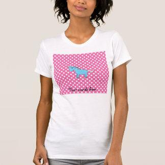 Unicornio azul en polkadots rosados camiseta