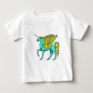 Unicornio azul y amarillo de camiseta