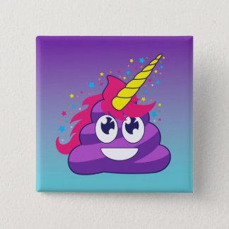 Unicornio azul y púrpura Poo Emoji de Ombre Chapa Cuadrada