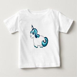 Unicornio blanco y azul, criatura linda de la camiseta de bebé