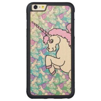 Unicornio blanco y rosado funda para iPhone 6 plus de carved® de nogal