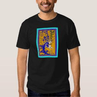 Unicornio clásico del oro y del azul real por camisetas