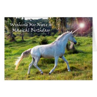 Unicornio, cumpleaños para la sobrina, sueño tarjeta