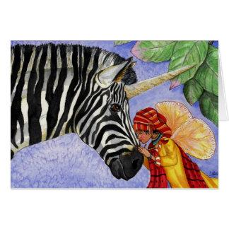 Unicornio de la cebra y tarjeta de la hada de ZiZi