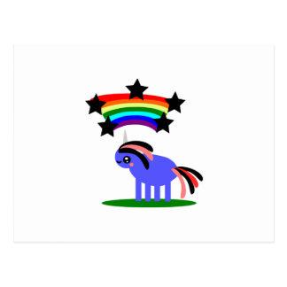 Unicornio de Wimsical y arco iris feliz del hippy Postal