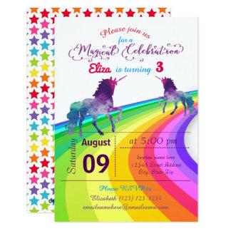 Unicornio del arco iris - invitación del