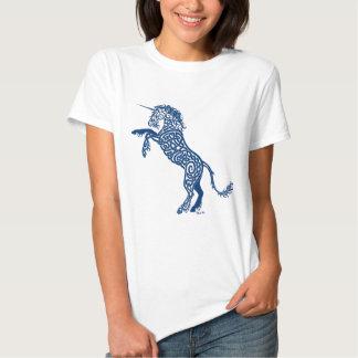 Unicornio del azul de Knotwork Camisas