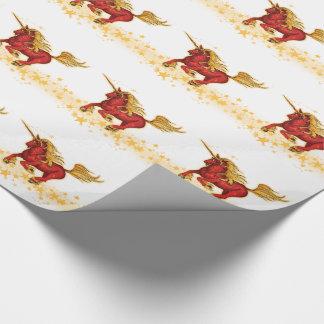 Unicornio del navidad (oro-rojo) papel de regalo