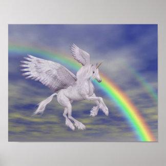 Unicornio del vuelo sobre el poster del caballo de