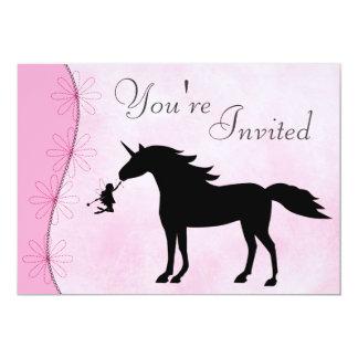 Unicornio e invitación del cumpleaños de la