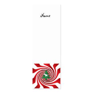 Unicornio en árbol de navidad en remolinos rojos tarjetas de visita mini