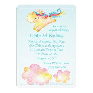 Unicornio en colores pastel del arco iris con las invitación 12,7 x 17,8 cm