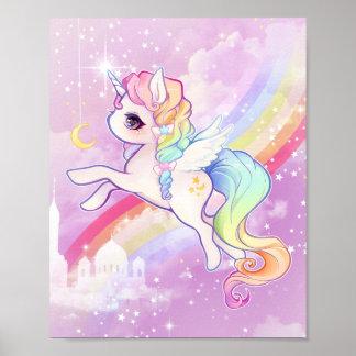 Unicornio en colores pastel del kawaii lindo con póster