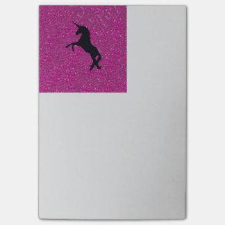 Unicornio en la impresión chispeante del brillo notas post-it®