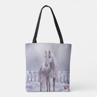 Unicornio en la nieve todo encima - imprima la bolso de tela
