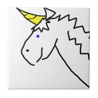Unicornio exhausto azulejo cuadrado pequeño