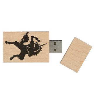 Unicornio fresco del baile memoria USB de madera