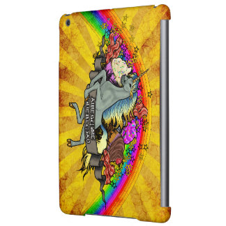 Unicornio impresionante, arco iris y tocino de la