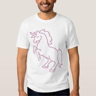 Unicornio impreso del rosa del diamante artificial camisetas