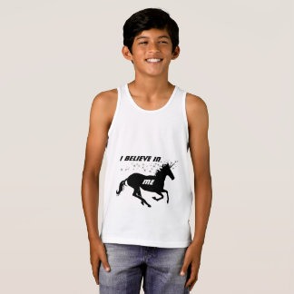Unicornio lindo mágico que creo en mí, blanco camiseta de tirantes