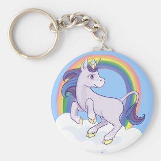 Unicornio mágico lindo del arco iris llavero redondo tipo chapa