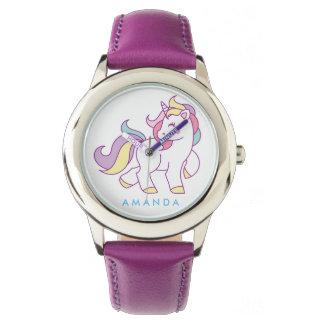 Unicornio mágico lindo personalizado reloj