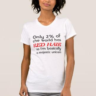 Unicornio majestuoso dirigido rojo camiseta