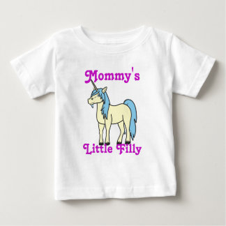 Unicornio poner crema con la melena azul clara camisas