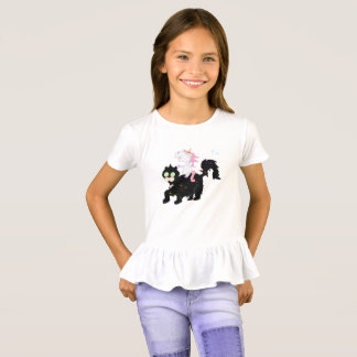 Unicornio que monta una camisa del chica del gato