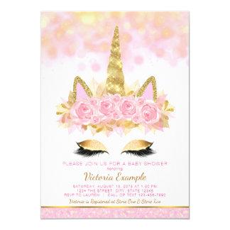 Unicornio rosado del oro de las invitaciones de la