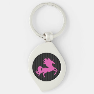Unicornio rosado en el fondo negro (IPU) Llavero Plateado En Forma De Espiral