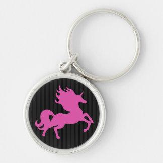 Unicornio rosado en el fondo negro (IPU) Llavero Redondo Plateado