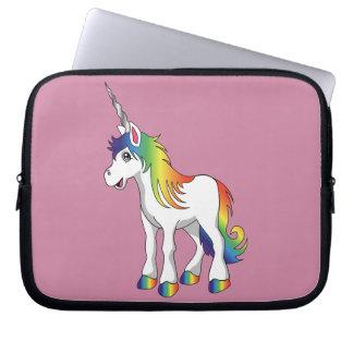 Unicornio rosado manga del neopreno del ordenador funda para portátil