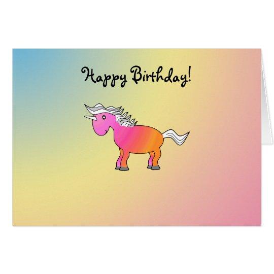 Unicornio rosado y anaranjado tarjeta de felicitación