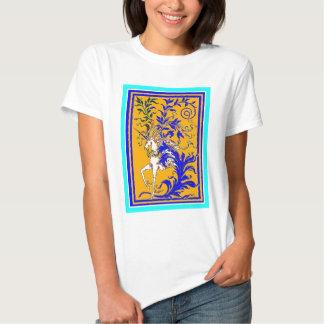Unicornio Woodvine en el oro y el azul real por Camisetas