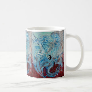 Unicornio y taza de Yin Yang del dragón
