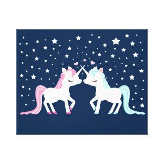 Unicornios en amor lienzo envuelto para galerías