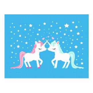 Unicornios en postal del amor