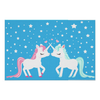 Unicornios en poster del arte del amor