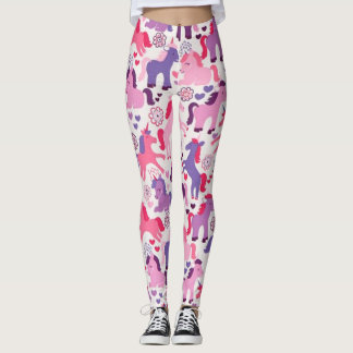 Unicornios que juegan coloridos lindos leggings