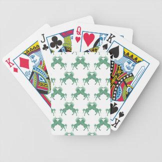 Unicornios verde oscuro del trébol barajas de cartas