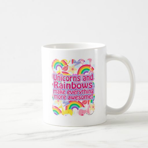 Unicornios y arco iris taza de café