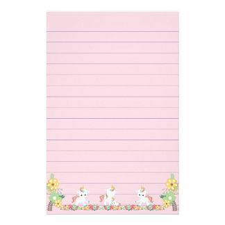 Unicornios y floral lindos papelería