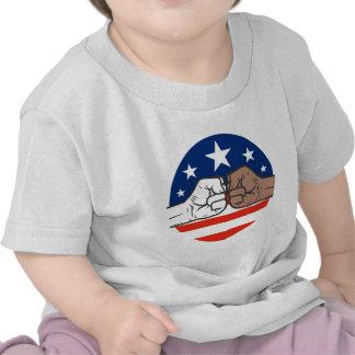 Unidad América blanco y negro del topetón de Obama Camiseta