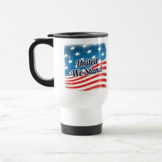 Unido colocamos la bandera americana taza de viaje