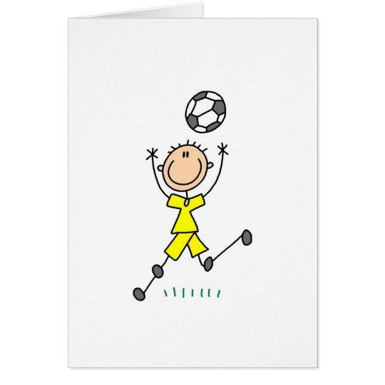 Uniforme amarillo del fútbol del muchacho tarjeta de felicitación