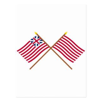 Unión e hijos magníficos cruzados de las banderas postal