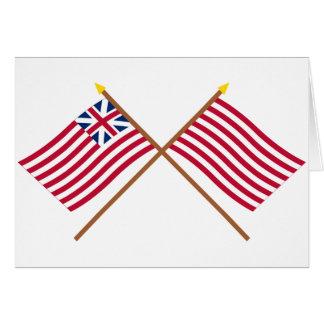 Unión e hijos magníficos cruzados de las banderas tarjeta de felicitación