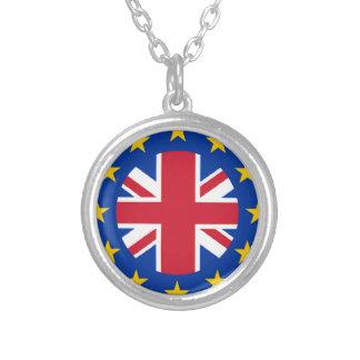 Union Jack - la UE señala por medio de una bandera Collar Plateado
